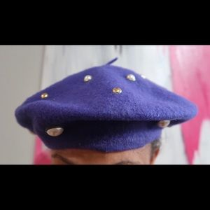 Vintage Purple Faux Pearl Studded Beret